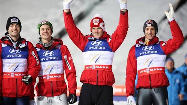 Austria take the team large hill title (Imago)