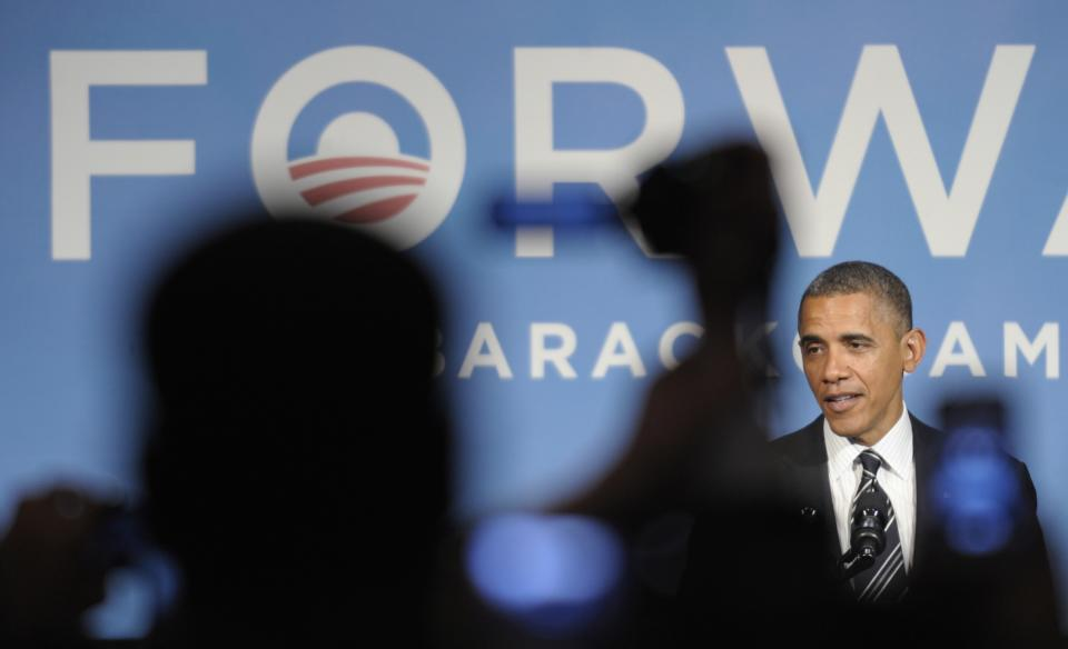 President Barack Obama speaks at a campaign event in Washington, Friday, Sept. 28, 2012, (AP Photo/Susan Walsh)