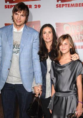 Ashton Kutcher and Demi Moore and Tallulah Belle Willis at the LA premiere of Columbia's Open Season