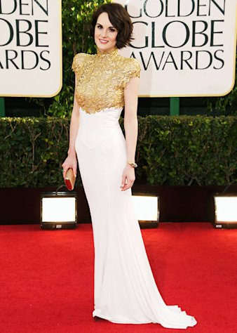 Michelle Dockery's Golden Globes Party Foul! Downton Abbey Actress Has Wine Spilled on Gorgeous Gown