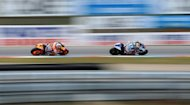 Moto GP Spanish rider Jorge Lorenzo (R) and Spain's Honda rider Dani Pedrosa compete during Czech Grand Prix in Brno. Pedrosa won the race after a nerve-wracking final la