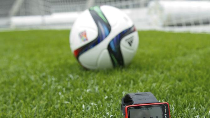 A wristwatch which is part of the Hawk-Eye goal-line technology is pictured at the Olympic stadium in Berlin