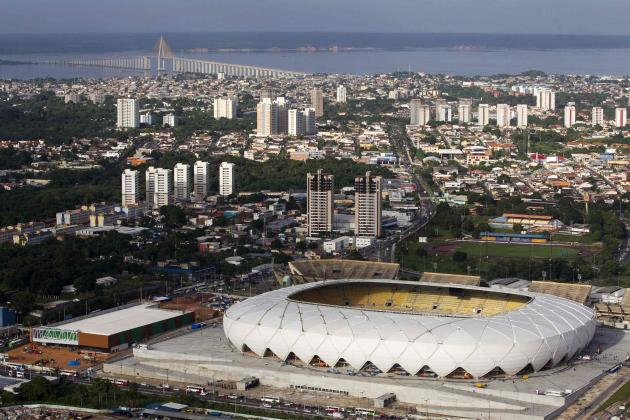 An aerial view of the Arena Amazonia soccer stadium two days before its scheduled inauguration in Manaus