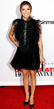 Eva Longoria sends off Desperate Housewives in an Alberta Ferretti black feathery mini