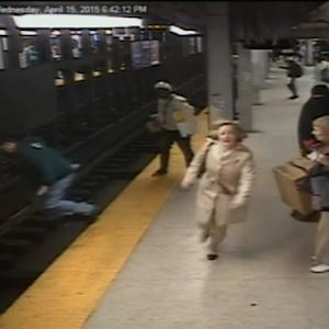 Surveillance video shows daring subway rescue