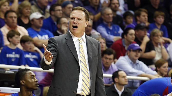 Kansas head coach Bill Self argues a call during the second half of an NCAA college basketball game against TCU, Wednesday, Feb. 6, 2013, in Fort Worth, Texas. TCU won 62-55. (AP Photo/Sharon Ellman)