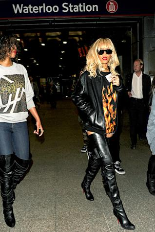 Rihanna Rides Subway in Thigh-High Boots, No Pants