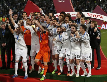 Real Madrid celebrates winning the Club World Cup final soccer match against San Lorenzo at Marrakesh