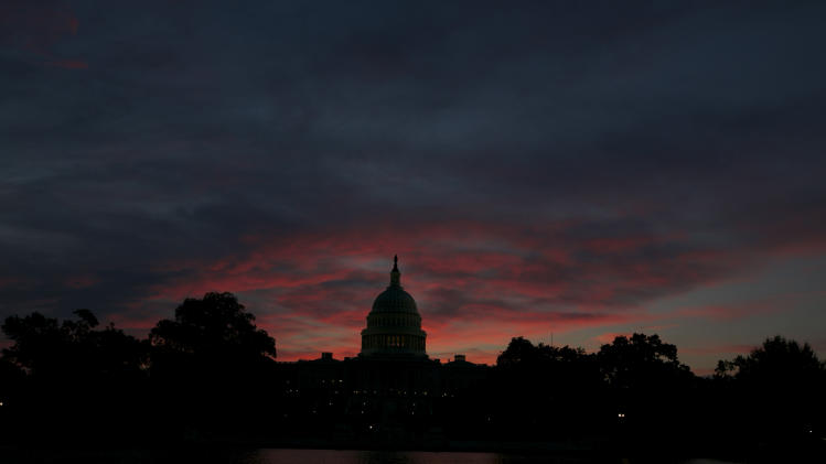 The U.S. Capitol Building is pictured before sunrise in Washington