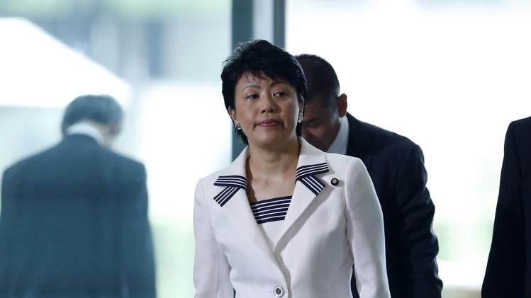 Japan's new Gender Equality Minister and minister for promoting women Arimura arrives at Prime Minister Shinzo Abe's official residence in Tokyo