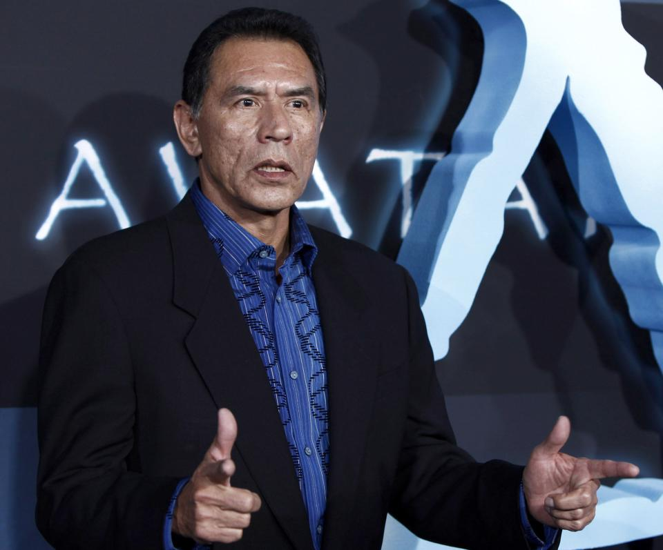 "File-This Dec. 16,2009 file photo of Wes Studi arrives at the premiere of ""Avatar"" in Los Angeles. Studi is set to become the second Native American inducted into the National Cowboy & Western Heritage Museum's Hall of Great Western Performers in Oklahoma City.(AP Photo/Matt Sayles,File)"