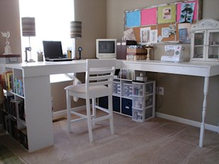 Make a DIY craft desk out of cube shelves