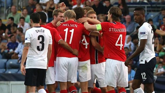Norway's U21 players celebrate against England in Israel (AFP)
