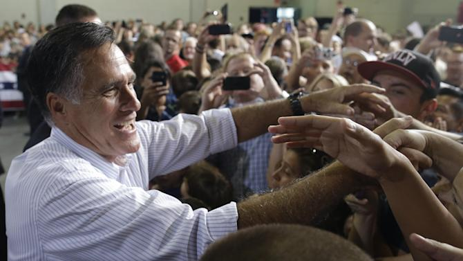 Republican presidential candidate and former Massachusetts Gov. Mitt Romney campaigns in Las Vegas, Friday, Sept. 21, 2012. (AP Photo/Charles Dharapak)