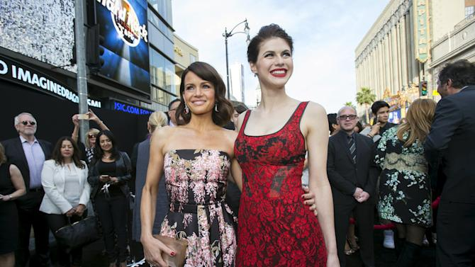"Cast members Gugino and Daddario pose at the premiere of ""San Andreas"" in Hollywood"