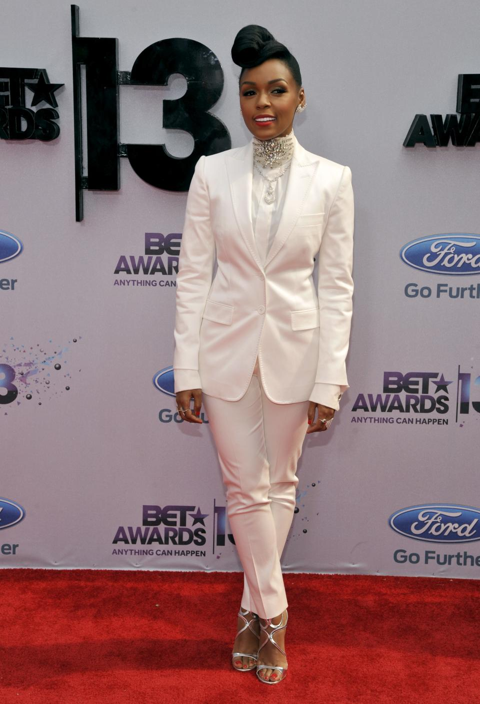 Janelle Monae arrives at the BET Awards at the Nokia Theatre on Sunday, June 30, 2013, in Los Angeles. (Photo by Chris Pizzello/Invision/AP)