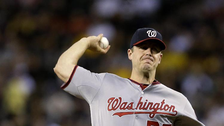 Washington Nationals starting pitcher Jordan Zimmermann throws against the Seattle Mariners in the sixth inning of a baseball game Friday, Aug. 29, 2014, in Seattle. (AP Photo/Elaine Thompson)
