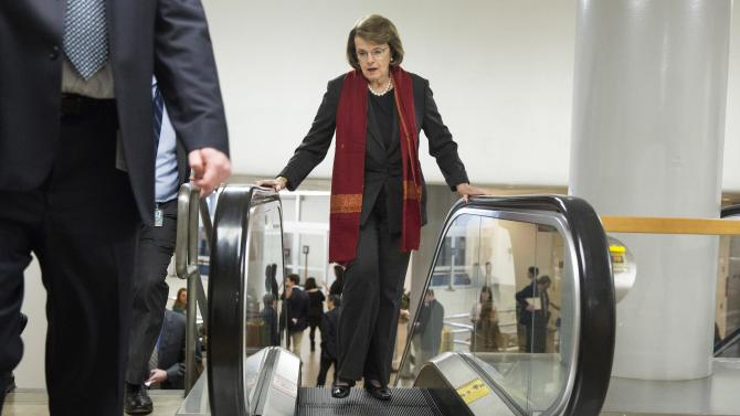 Senator Dianne Feinstein (D-CA) walks to the Senate Chamber to vote on legislation for funding the Department of Homeland Security