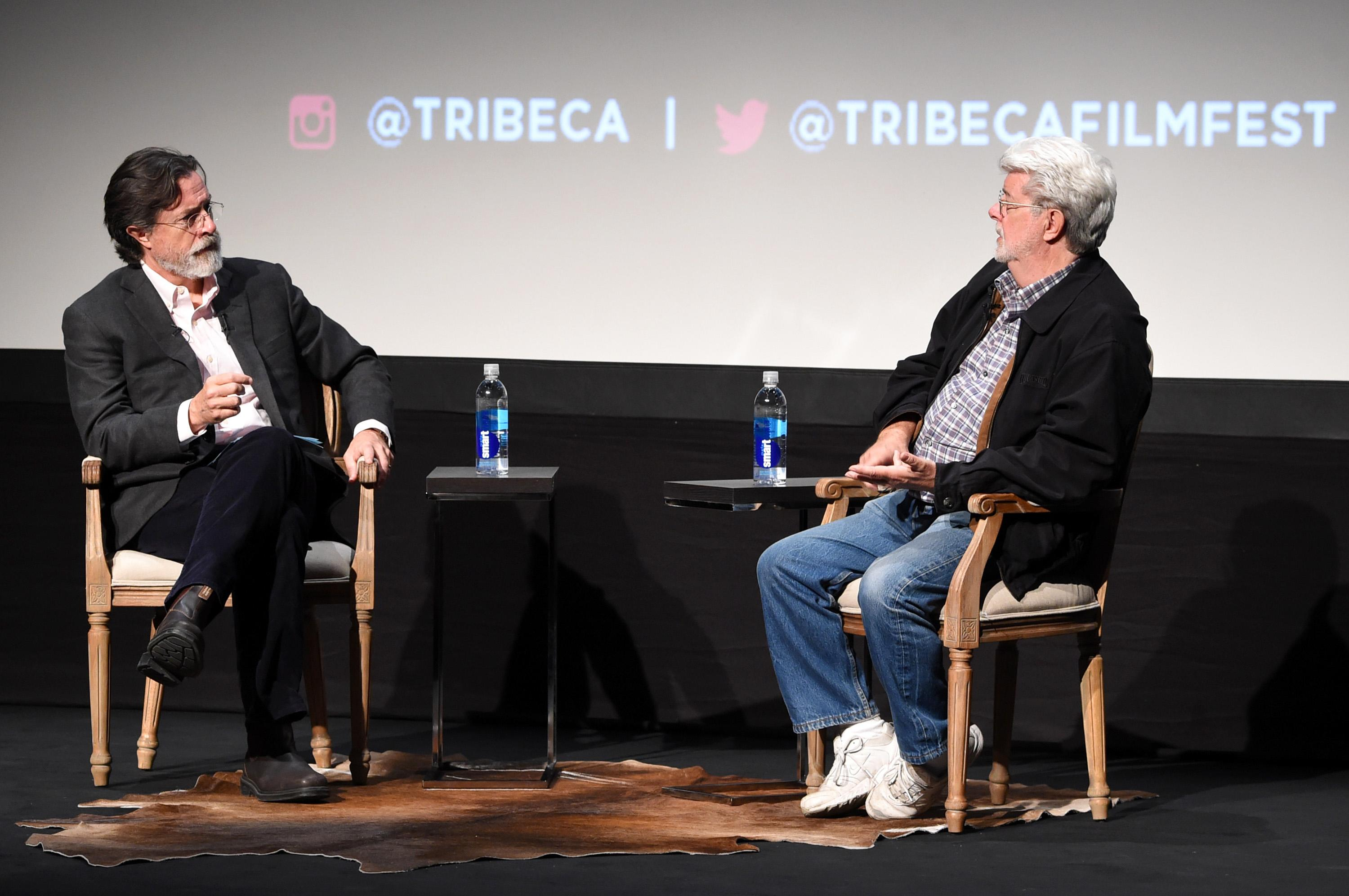 """'Late Show' Warmup At Tribeca? Colbert Tells Lucas """"I'm Not The Guy To Take Over For Jon Stewart"""""""