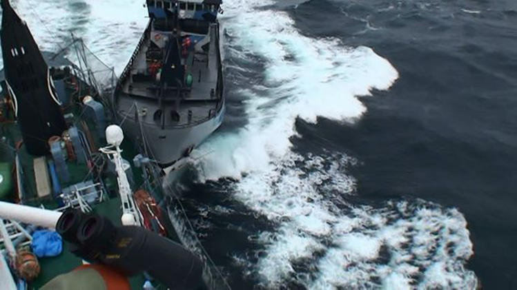 """Institute of Cetacean Research handout photo shows Sea Shepherd vessel """"The Bob Barker"""" in contact with the port side stern of Japanese whaling ship Yushin Maru in the Southern Ocean"""