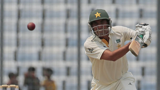 Pakistan's Younis Khan plays a shot during the first day of the second test cricket match against Bangladesh in Dhaka, Bangladesh, Wednesday, May 6, 2015. (AP Photo/ A.M. Ahad)
