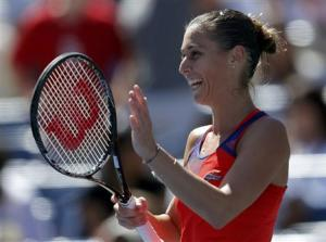 Pennetta of Italy reacts after defeating compatriot Vinci at the U.S. Open tennis championships in New York