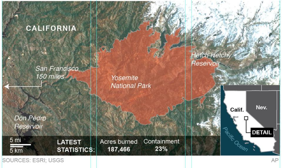 A look at the area of the Rim Fire in Yosemite National Park in California. ; 3c x 5 inches; 146 mm x 127 mm;
