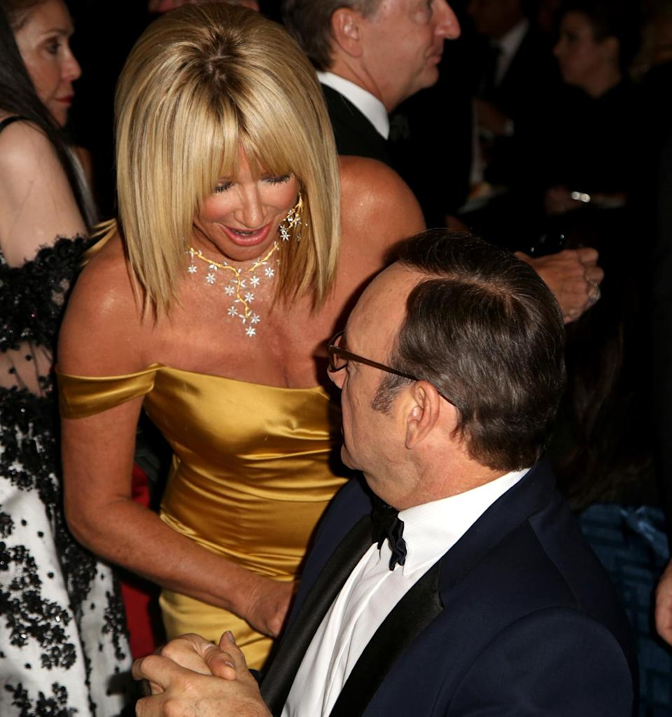 Actors Suzanne Somers, left, and Kevin Spacey attend the Wallis Annenberg Center for the Performing Arts Inaugural Gala on Thursday, Oct. 17, 2013, in Beverly Hills, Calif. (Photo by Brian Dowling/Invision/AP)