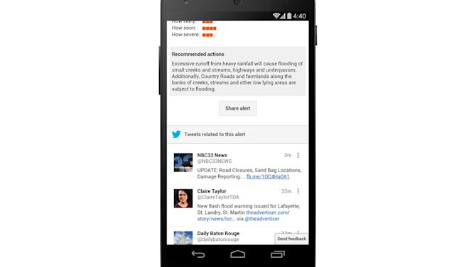 Google Public Alerts will begin pulling in tweets to help save us from disasters