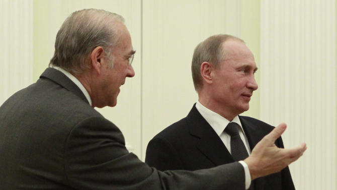 Secretary-General of the Organization for Economic Cooperation and Development Angel Gurria, left, presents members of the delegation to Russian President Vladimir Putin during their meeting in the Kremlin in Moscow, Thursday, Feb. 14, 2013. (AP Photo/Maxim Shemetov, Pool)