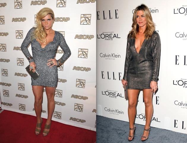 There are statements, and there are things better left unsaid. On the left we have Ke$ha (24) whose dress is not only short and metallic, it is skin-tight as well. TMI. On the right is Jen Aniston (42