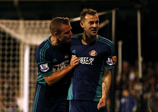 Sunderland's Steven Fletcher, right, celebrates scoring the opening goal of the game with Lee Cattermole