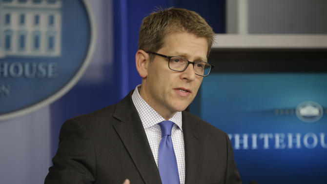White House Press Secretary Jay Carney during his daily news briefing at the White House in Washington, Friday, May, 10, 2013. Carney responded on Senate Minority Leader Mitch McConnell, R-Ky, calling on  top-to-bottom review of the Obama administration after the IRS admitted that it had targeted conservative groups during the 2012 election. (AP Photo/Pablo Martinez Monsivais)