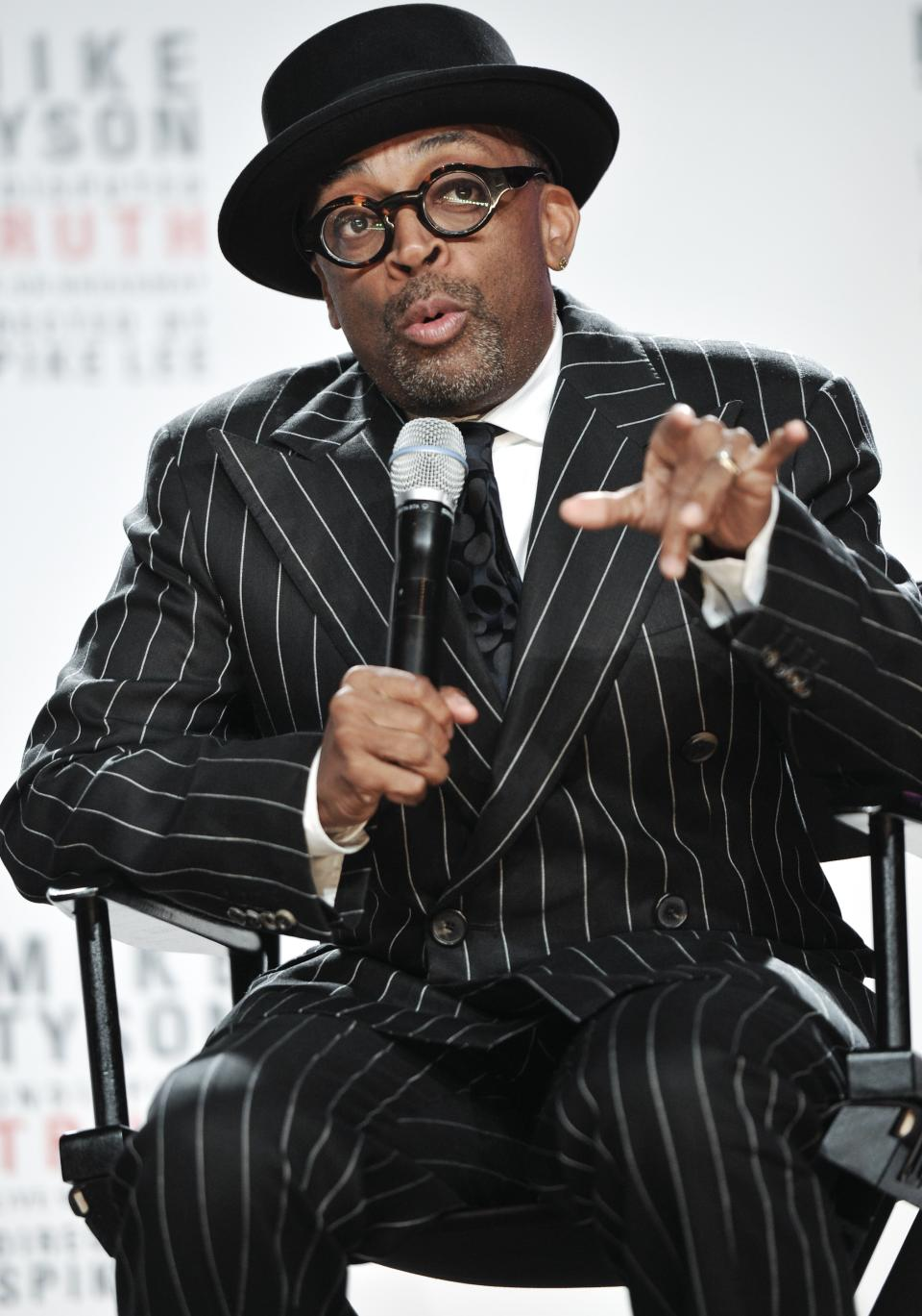 "Director Spike Lee talks about his Broadway directorial debut ""Mike Tyson: Undisputed Truth"", a one man show starring Mike Tyson, on Monday June 18, 2012 in New York. (Photo by Evan Agostini/Invision)"
