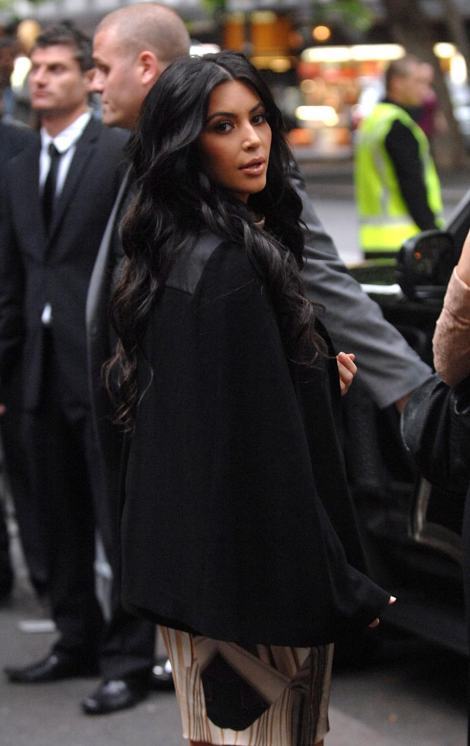 American reality television celebrity Kim Kardashian arrives at the launch of her handbag fashion range in Sydney, Australia on Wednesday Nov. 2, 2011. (AP Photo/ Jeremy Piper)