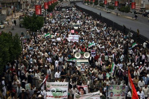 <p>Yemeni protestors take part in an anti-terror demonstration in Sanaa on September 12. Yemeni protesters, angry over a film mocking Islam, on Thursday stormed the complex of the US embassy in Sanaa, defying efforts by riot police to hold them at bay, an AFP correspondent said.</p>