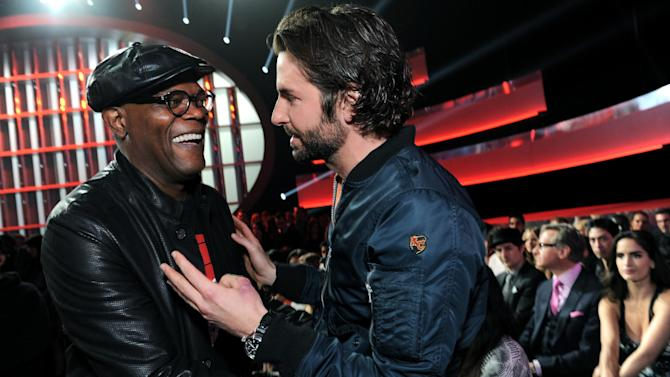 Actors Samuel L. Jackson and Bradley Cooper in the audience at the MTV Movie Awards in Sony Pictures Studio Lot in Culver City, Calif., on Sunday April 14, 2013. (Photo by Jordan Strauss/Invision for MTV/AP Images)