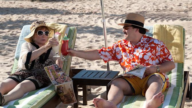 "In this film publicity image released by Millennium Entertainment, Shirley MacLaine portrays Marjorie Nugent, left, and Jack Black portrays Bernie Tiede in a scene from ""Bernie."" (AP Photo/Millennium Entertainment)"