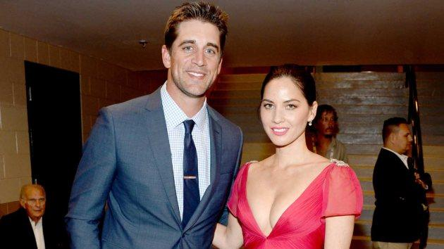 Aaron Rodgers and Olivia Munn attend the 49th Annual Academy of Country Music Awards at the MGM Grand Garden Arena on April 6, 2014 in Las Vegas -- Getty Images