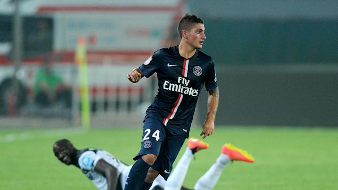 Paris Saint-Germain's Marco Verratti controls the ball during the French season-opening Champions Trophy football match against Guingamp in Beijing on August 2, 2014