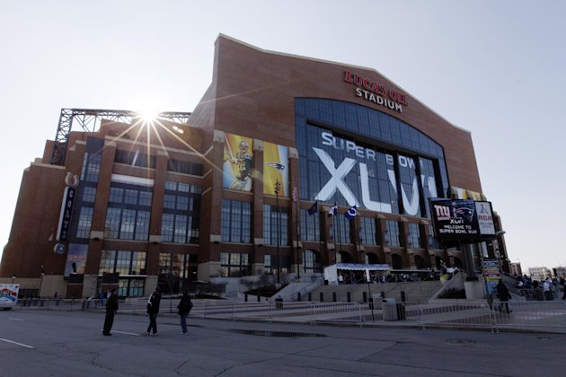 FILE - This Feb. 5, 2012 photo shows the exterior of Lucas Oil Stadium before the NFL Super Bowl XLVI football game in Indianapolis.  In a 54-page report focused on Homeland Security Department spendi