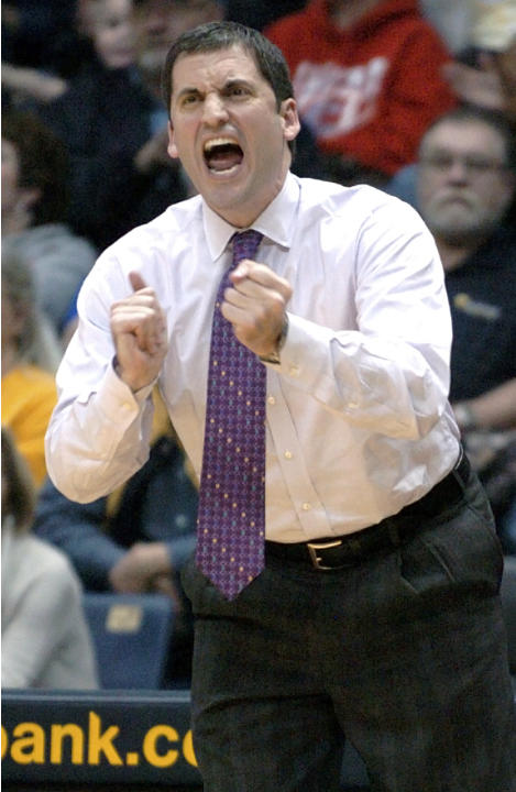 FILE - In this Jan. 4, 2012, file photo, Murray State head coach Steve Prohm applauds his team as they battle Eastern Kentucky in the first half of an NCAA college basketball game in Murray, Ky. Look