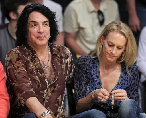 "Musician Paul Stanley of the band ""Kiss"" watches the Los Angeles Lakers play the Miami Heat in their NBA basketball game in Los Angeles"