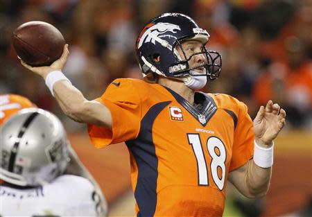 Denver Broncos quarterback Manning winds up to throw against the Oakland Raiders during their NFL football game in Denver