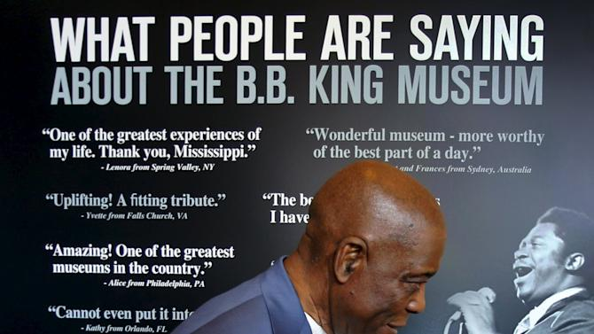Blues guitarist Buddy Guy visits the B.B. King Museum after paying his respects during a public viewing of B.B. King, in Indianola, Mississippi