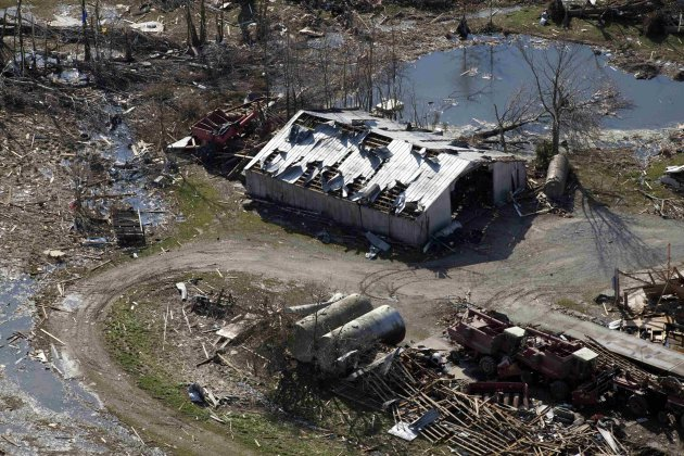 An aerial view shows a damaged building in the wake of a tornado in Marysville, Indiana