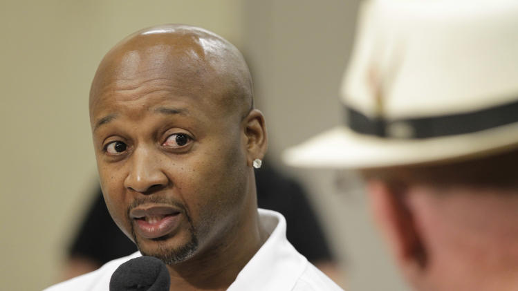 Indiana Pacers new assistant head coach Brian Shaw responds to a question during a news conference in Indianapolis, .Wednesday, July 13, 2011. (AP Photo/Darron Cummings)