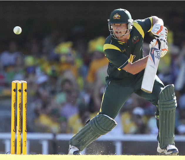 Australia's Peter Forrest plays a shot during the One Day International cricket match between Australia and India in Brisbane, Australia, Sunday, Feb. 19, 2012. (AP Photo/Tertius Pickard)