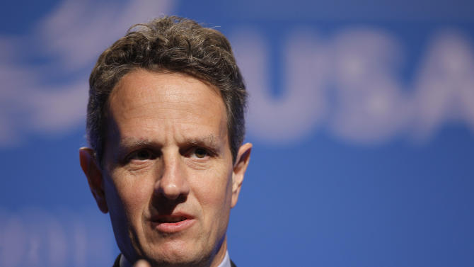 U.S. Treasury Secretary Tim Geithner speaks to the press at the Asia-Pacific Economic Cooperation summit Thursday, Nov. 10, 2011, in Honolulu.  (AP Photo/Andres Leighton)