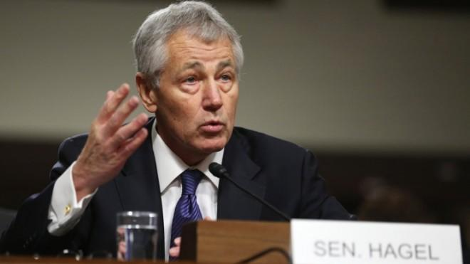 Chuck Hagel during his confirmation hearing on Jan. 31.